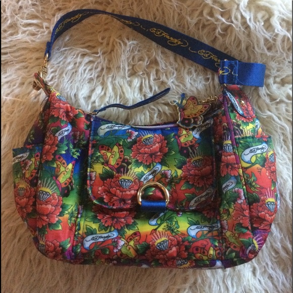 Ed Hardy Handbags - EUC-Ed Hardy Diamond Butterfly Hobo Bag b0ade12041bb9
